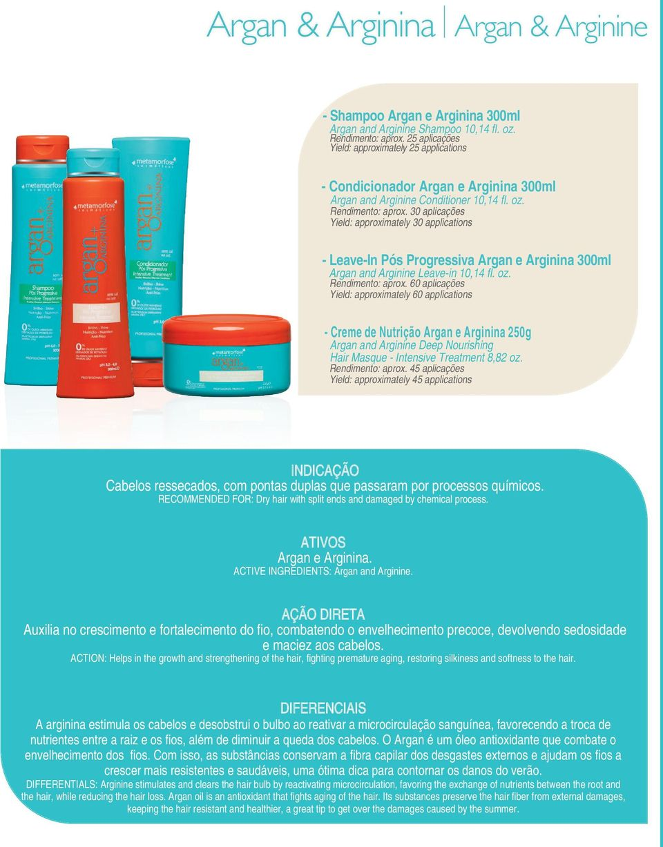- Leave-In Pós Progressiva Argan e Arginina 300ml Argan and Arginine Leave-in 10,14 fl. oz. Rendimento: aprox.