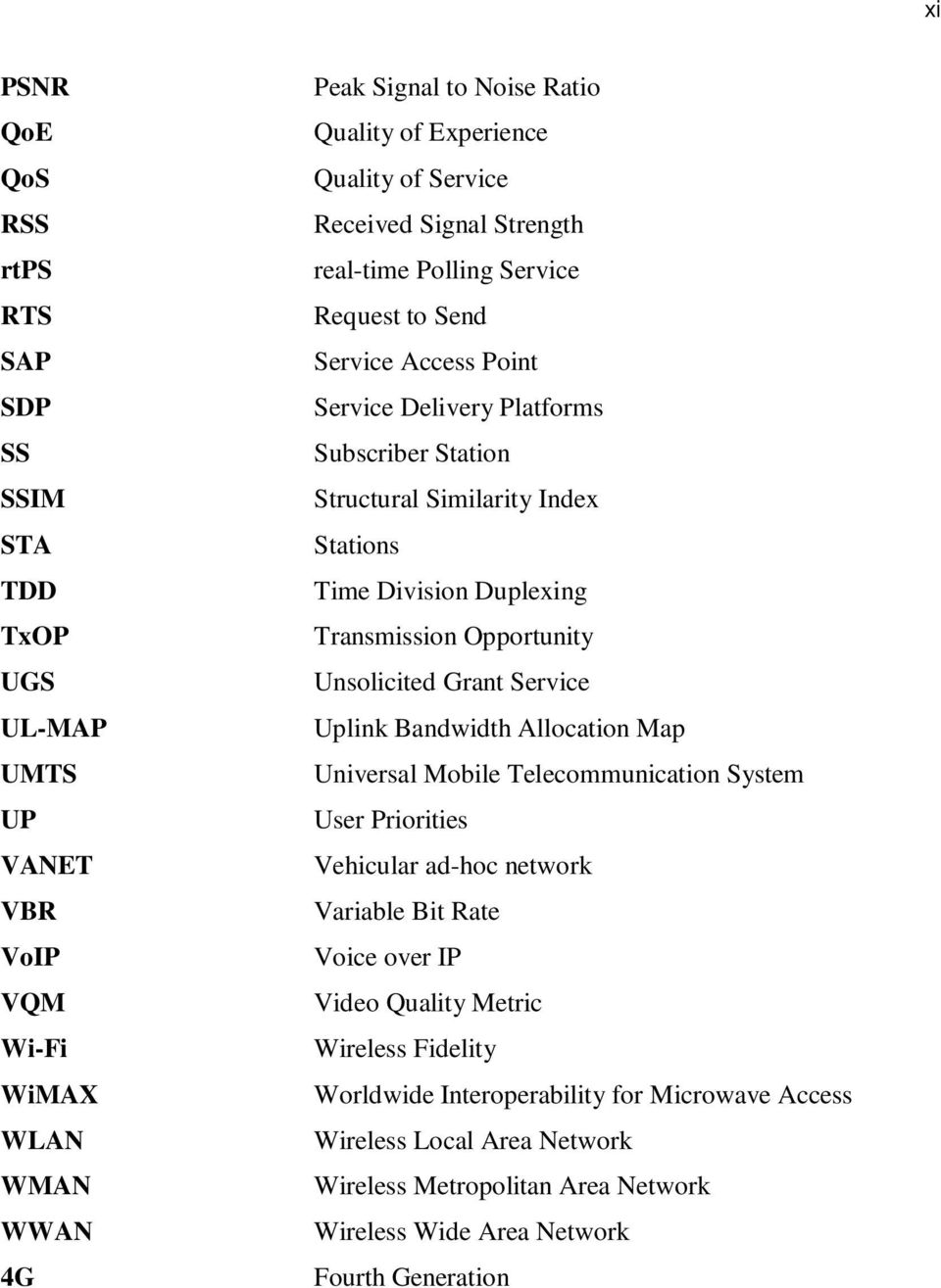Transmission Opportunity Unsolicited Grant Service Uplink Bandwidth Allocation Map Universal Mobile Telecommunication System User Priorities Vehicular ad-hoc network Variable Bit Rate Voice over
