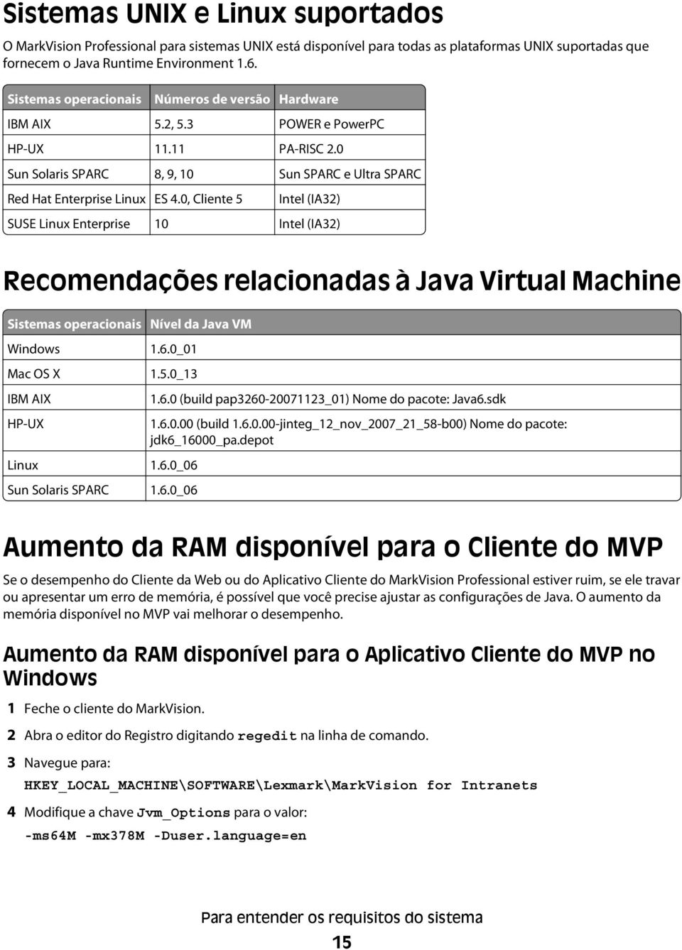 0, Cliente 5 Intel (IA32) SUSE Linux Enterprise 10 Intel (IA32) Recomendações relacionadas à Java Virtual Machine Sistemas operacionais Windows Mac OS X IBM AIX HP-UX Linux Sun Solaris SPARC Nível da