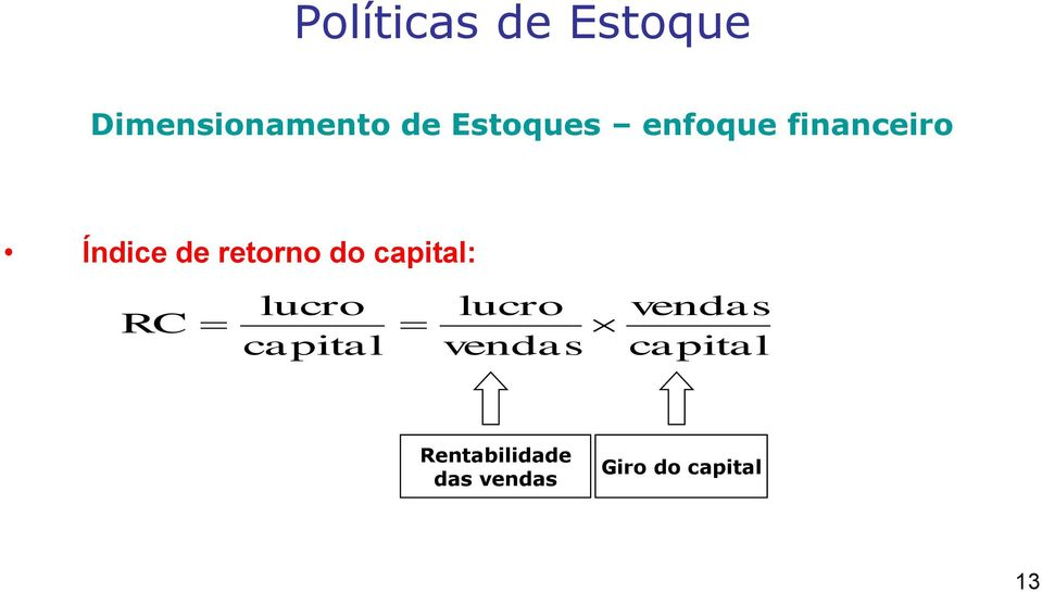 do capital: RC lucro capital lucro vendas