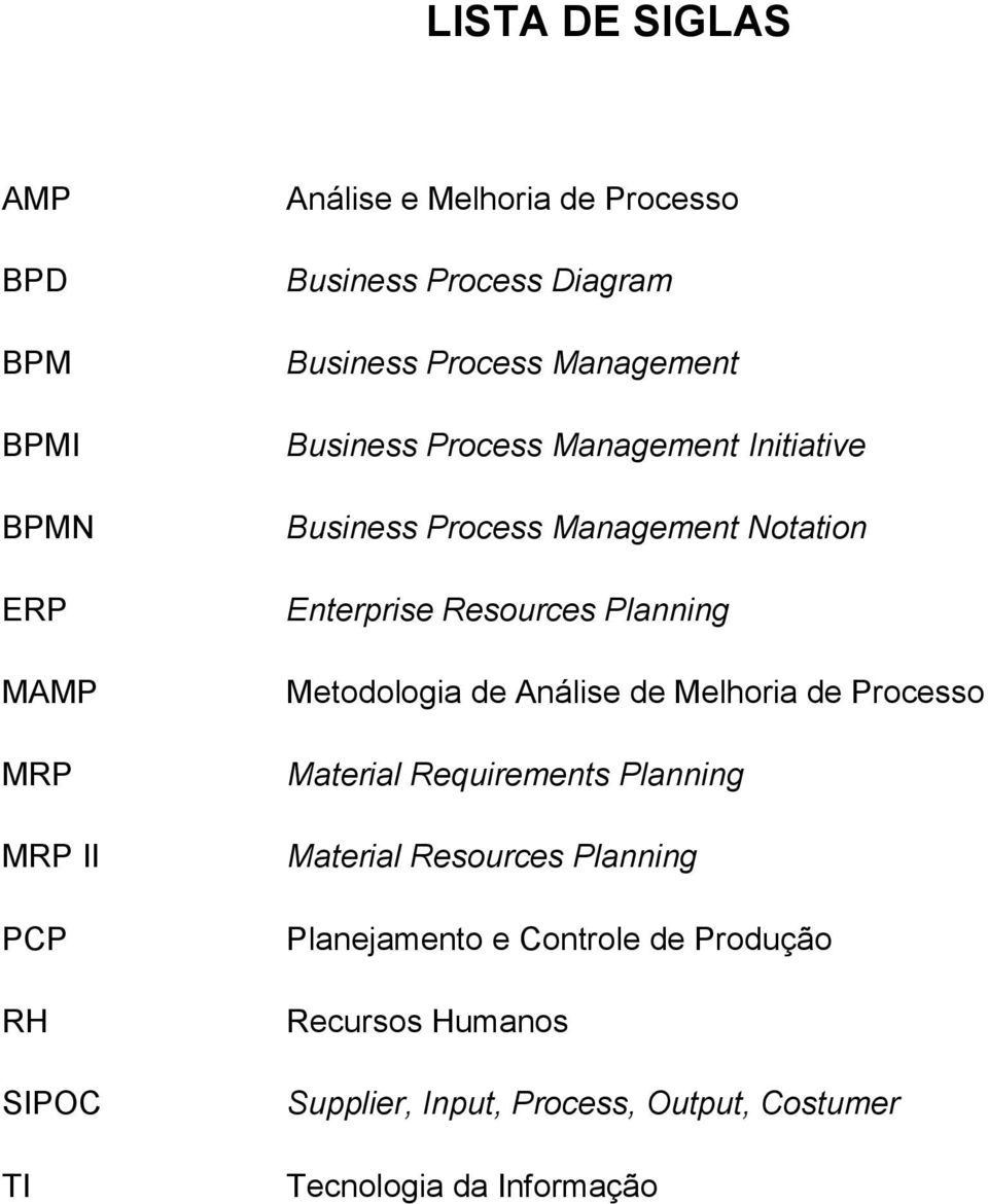 Resources Planning Metodologia de Análise de Melhoria de Processo Material Requirements Planning Material Resources