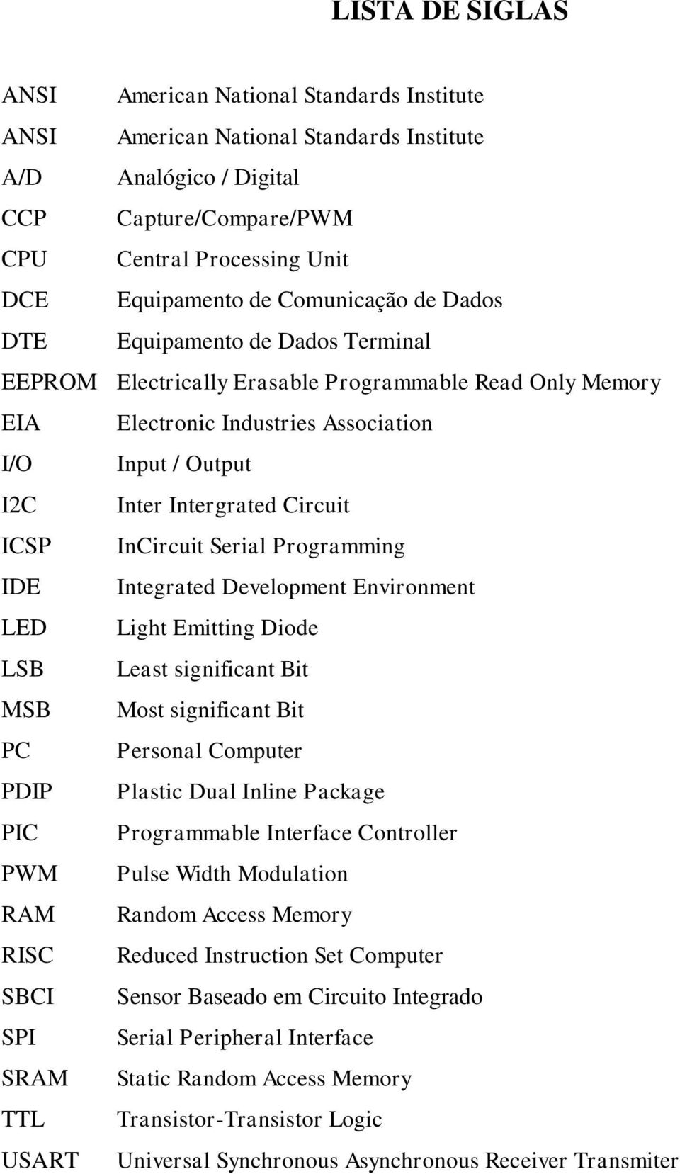 Circuit ICSP InCircuit Serial Programming IDE Integrated Development Environment LED Light Emitting Diode LSB Least significant Bit MSB Most significant Bit PC Personal Computer PDIP Plastic Dual