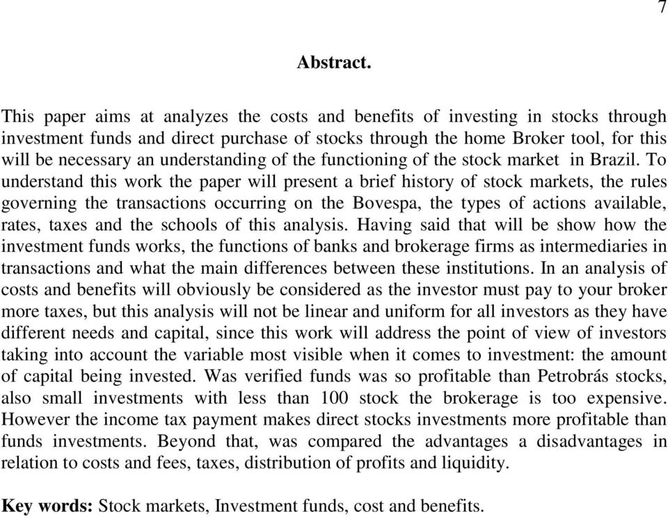 understanding of the functioning of the stock market in Brazil.