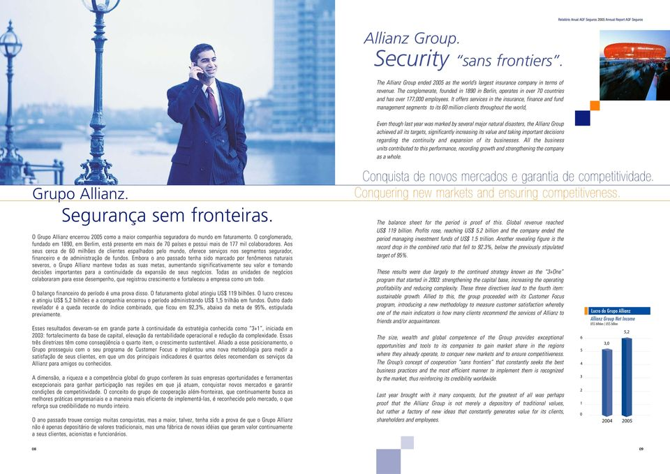 It offers services in the insurance, finance and fund management segments to its 60 million clients throughout the world, Relatório Anual AGF Seguros 2005 Annual Report AGF Seguros Even though last
