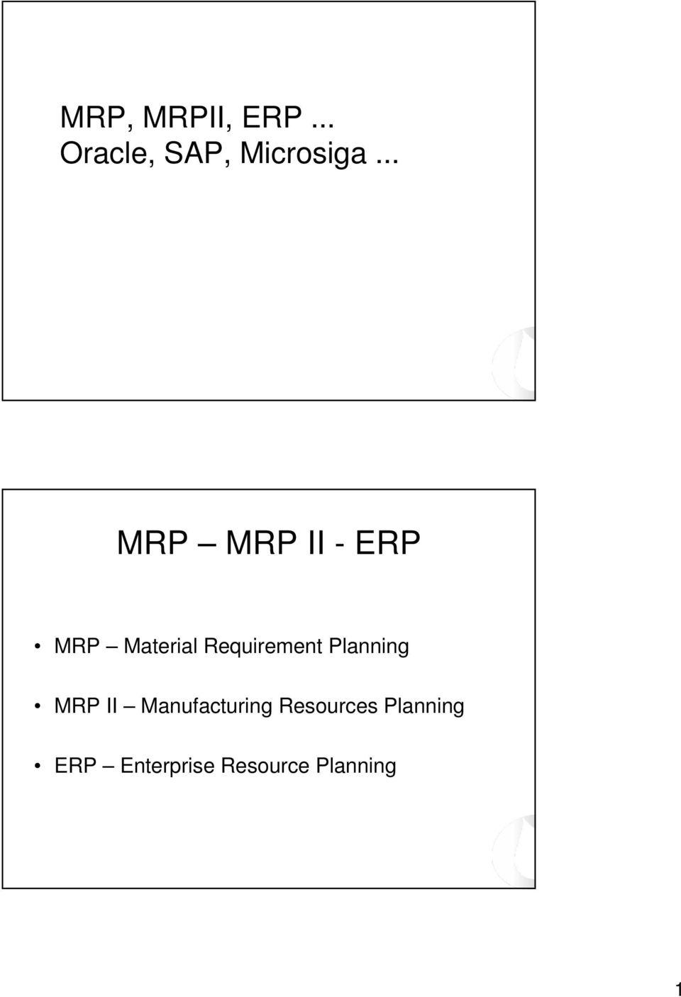 Requirement Planning MRP II Manufacturing