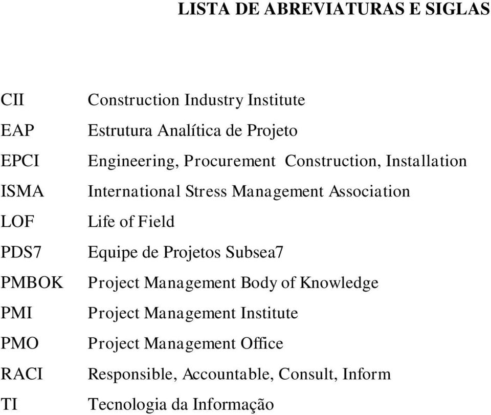 Stress Management Association Life of Field Equipe de Projetos Subsea7 Project Management Body of Knowledge