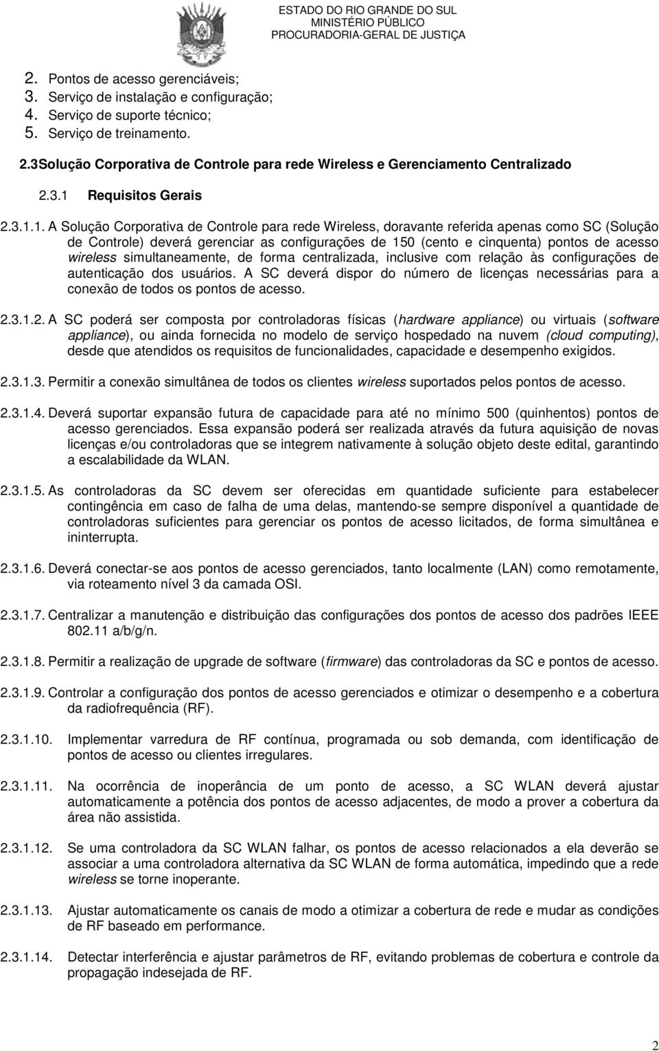 Requisitos Gerais 2.3.1.