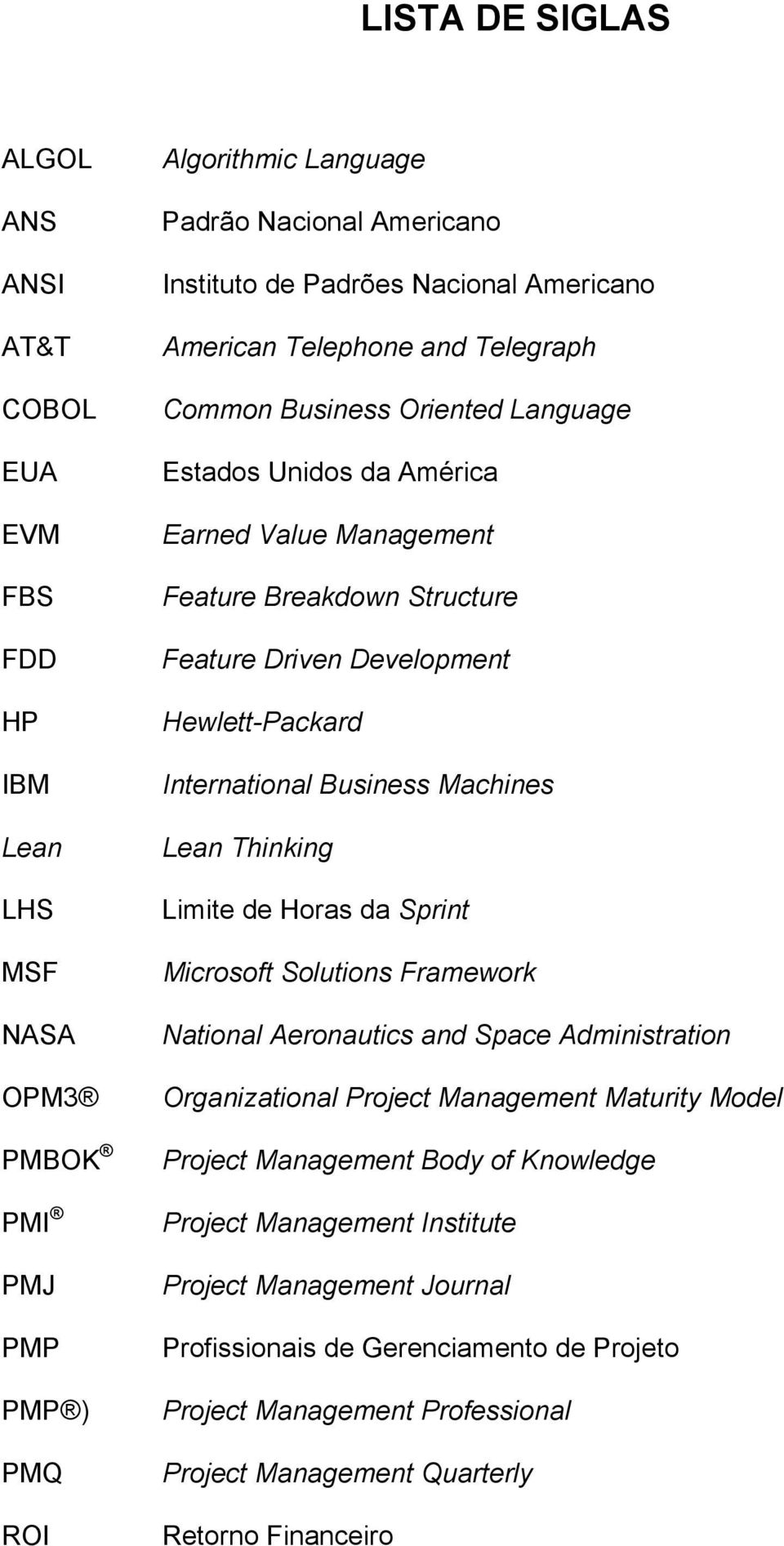 International Business Machines Lean Thinking Limite de Horas da Sprint Microsoft Solutions Framework National Aeronautics and Space Administration Organizational Project Management Maturity Model