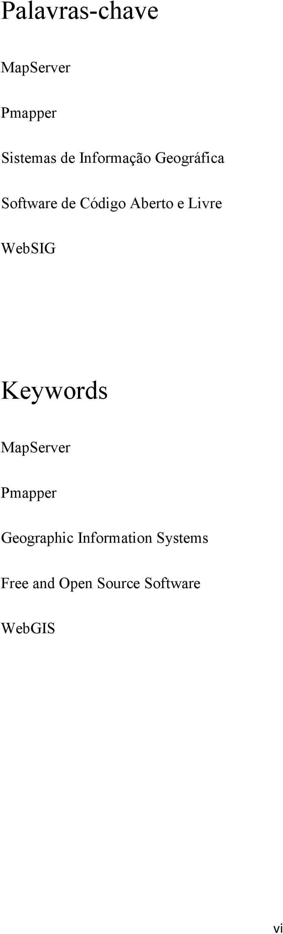 Livre WebSIG Keywords MapServer Pmapper Geographic