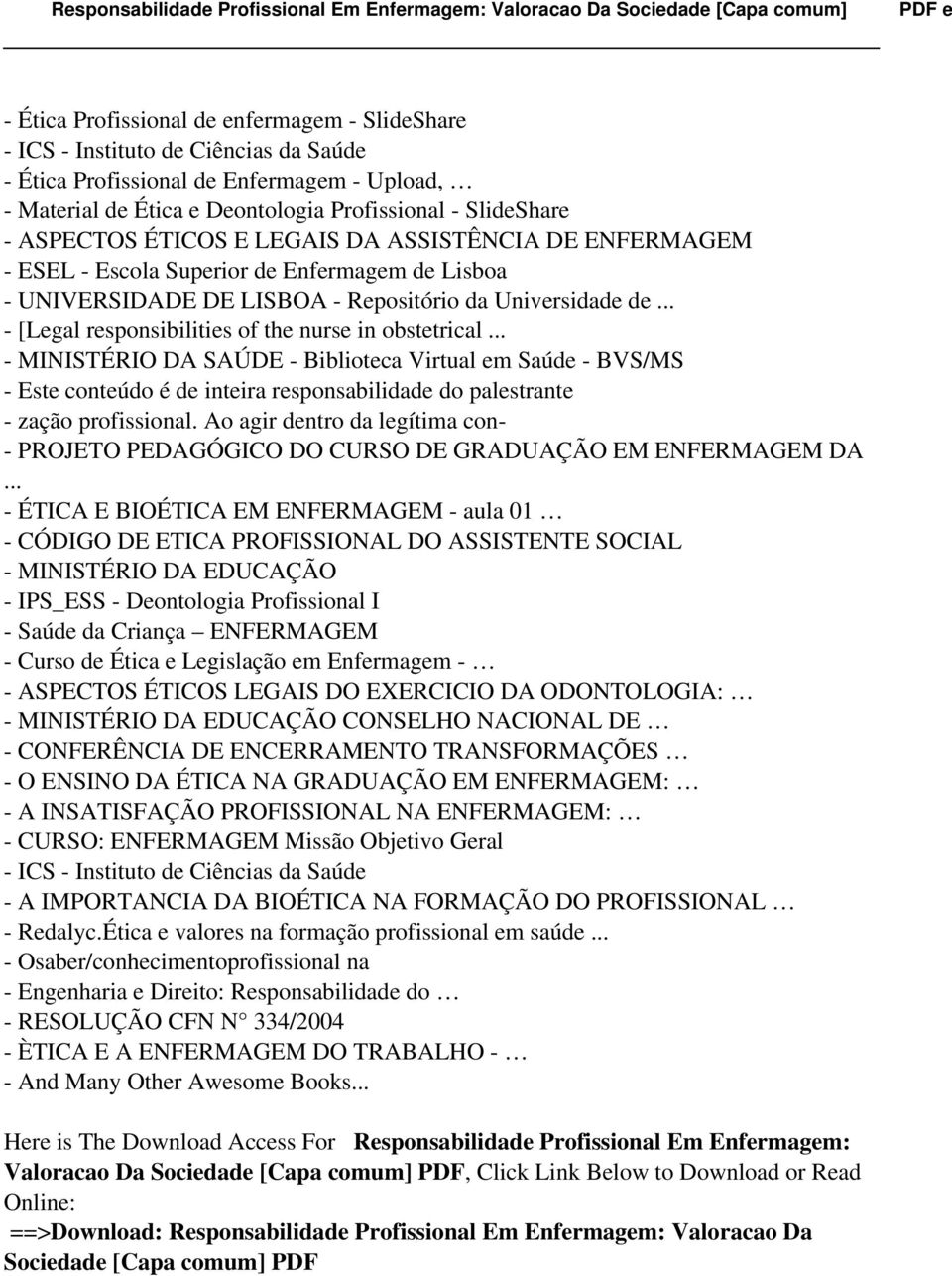 .. - [Legal responsibilities of the nurse in obstetrical.