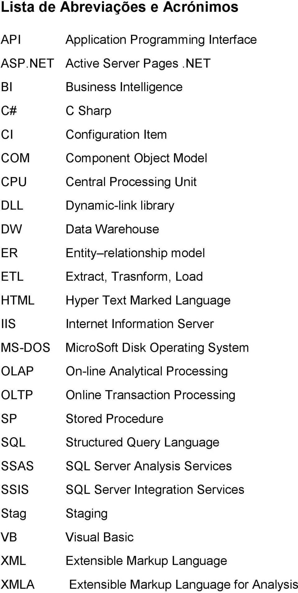 Processing Unit Dynamic-link library Data Warehouse Entity relationship model Extract, Trasnform, Load Hyper Text Marked Language Internet Information Server MicroSoft Disk