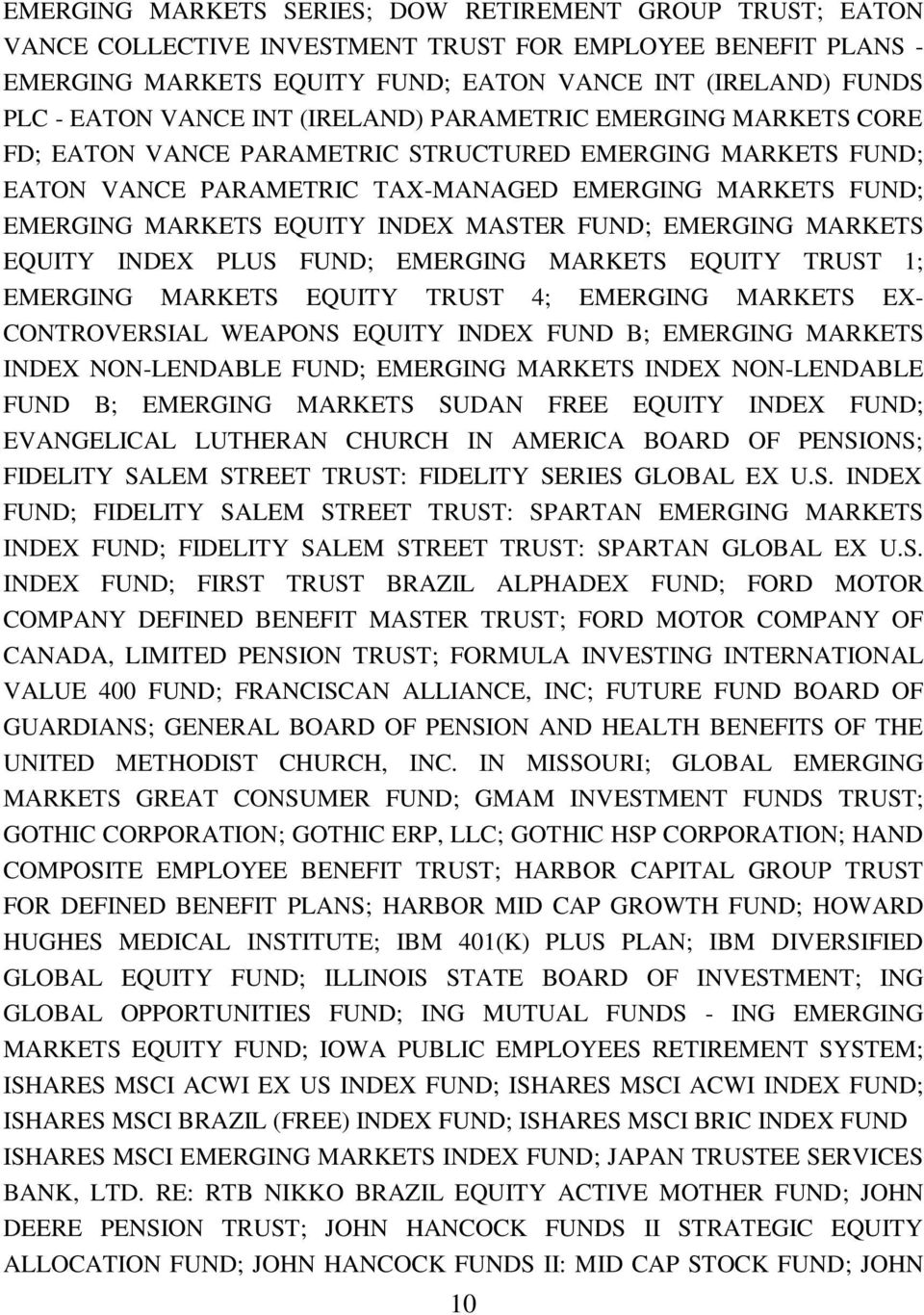 INDEX MASTER FUND; EMERGING MARKETS EQUITY INDEX PLUS FUND; EMERGING MARKETS EQUITY TRUST 1; EMERGING MARKETS EQUITY TRUST 4; EMERGING MARKETS EX- CONTROVERSIAL WEAPONS EQUITY INDEX FUND B; EMERGING