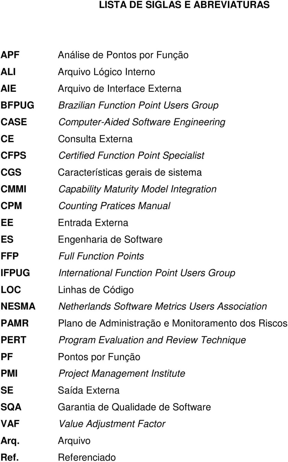 Specialist Características gerais de sistema Capability Maturity Model Integration Counting Pratices Manual Entrada Externa Engenharia de Software Full Function Points International Function Point