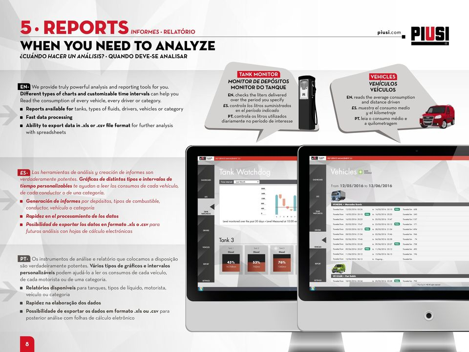 Reports available for tanks, SCHERMATA types of fluids, drivers, OK vehicles - EN or category Fast data processing Ability to export data in.xls or.