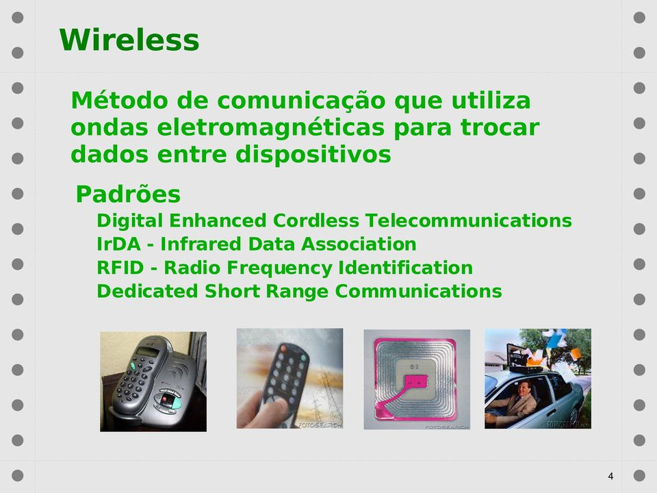 Cordless Telecommunications IrDA - Infrared Data Association RFID
