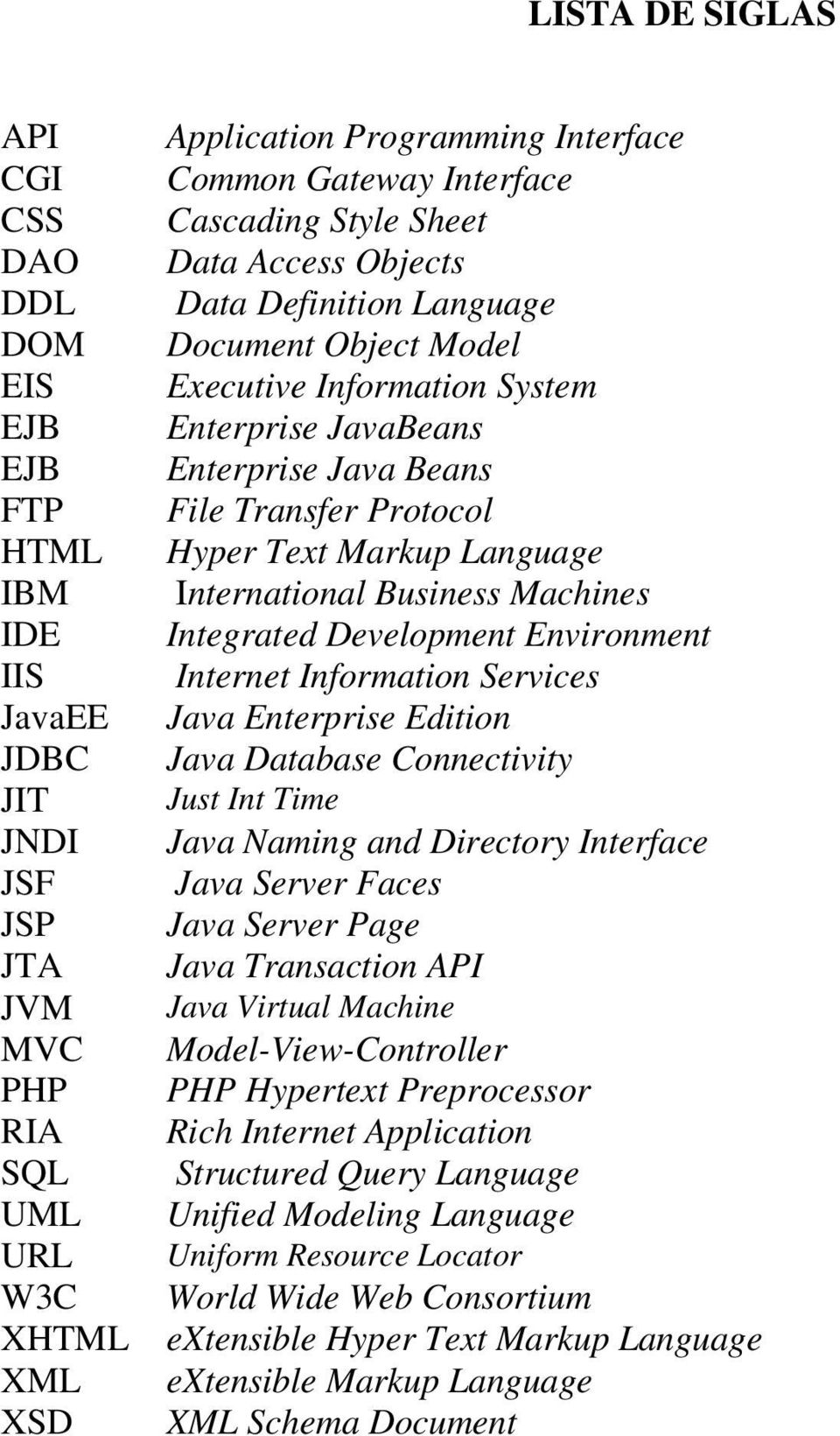 Protocol Hyper Text Markup Language International Business Machines Integrated Development Environment Internet Information Services Java Enterprise Edition Java Database Connectivity Just Int Time