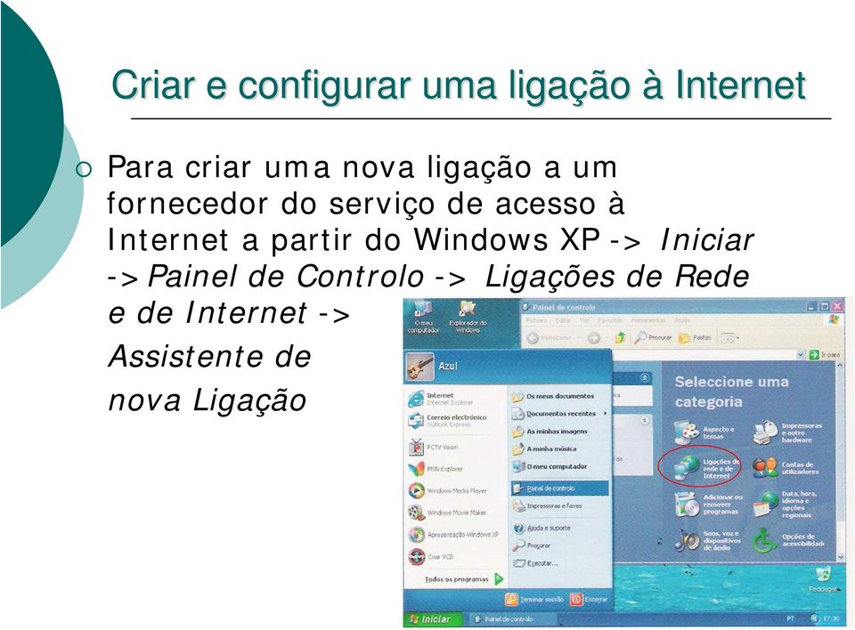 Internet a partir do Windows XP -> Iniciar ->Painel de