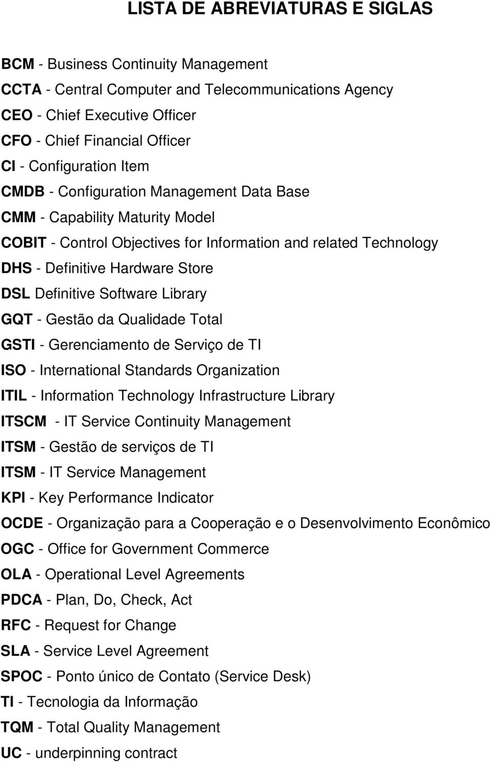 Definitive Software Library GQT - Gestão da Qualidade Total GSTI - Gerenciamento de Serviço de TI ISO - International Standards Organization ITIL - Information Technology Infrastructure Library ITSCM