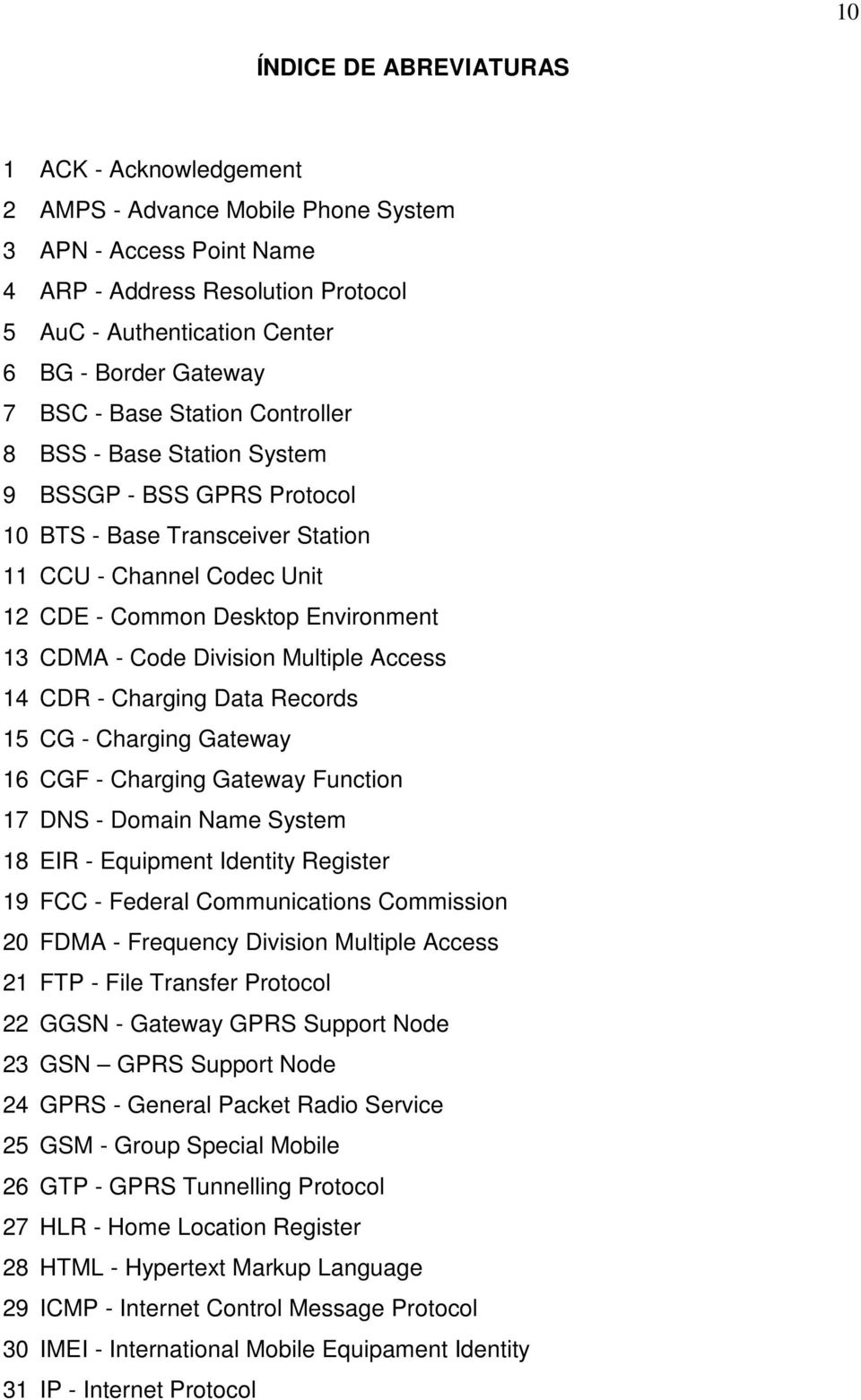 CDMA - Code Division Multiple Access 14 CDR - Charging Data Records 15 CG - Charging Gateway 16 CGF - Charging Gateway Function 17 DNS - Domain Name System 18 EIR - Equipment Identity Register 19 FCC