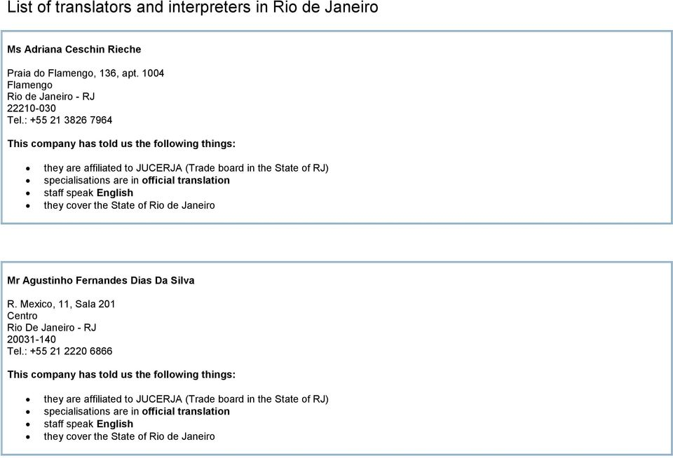 : +55 21 3826 7964 they are affiliated to JUCERJA (Trade board in the State of RJ) they cover the State of Rio de Janeiro Mr