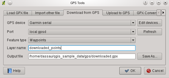 Figura 15.2: Ferramenta de download 15.1.6 Carregando dados no receptor GPS You can also upload data directly from a vector layer in QGIS to a GPS device using the Upload to GPS tab of the GPS Tools dialog.