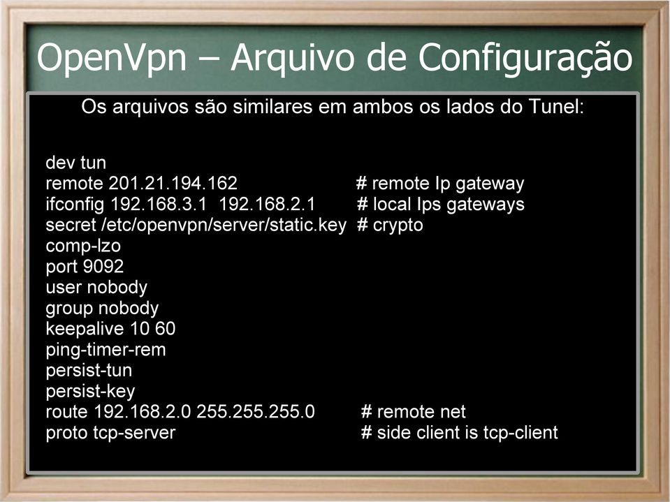 key # crypto comp-lzo port 9092 user nobody group nobody keepalive 10 60 ping-timer-rem persist-tun