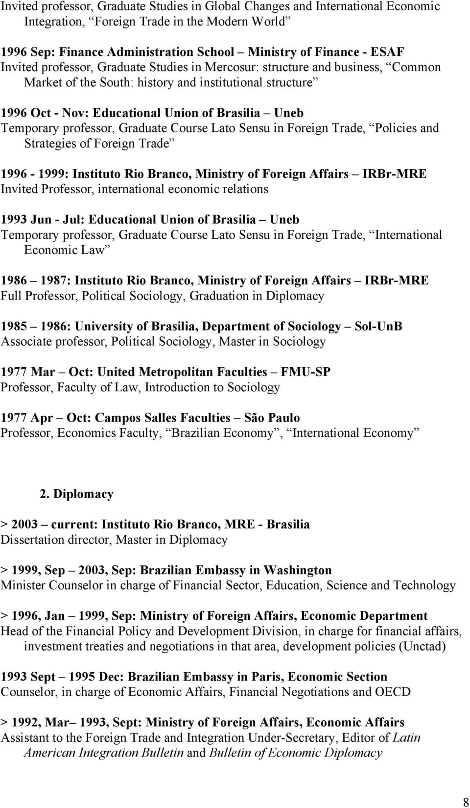 professor, Graduate Course Lato Sensu in Foreign Trade, Policies and Strategies of Foreign Trade 1996-1999: Instituto Rio Branco, Ministry of Foreign Affairs IRBr-MRE Invited Professor, international