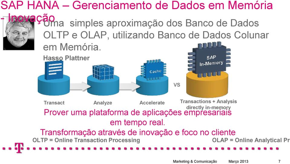 Hasso Plattner VS Transact Analyze Accelerate Transactions + Analysis directly in-memory Prover uma