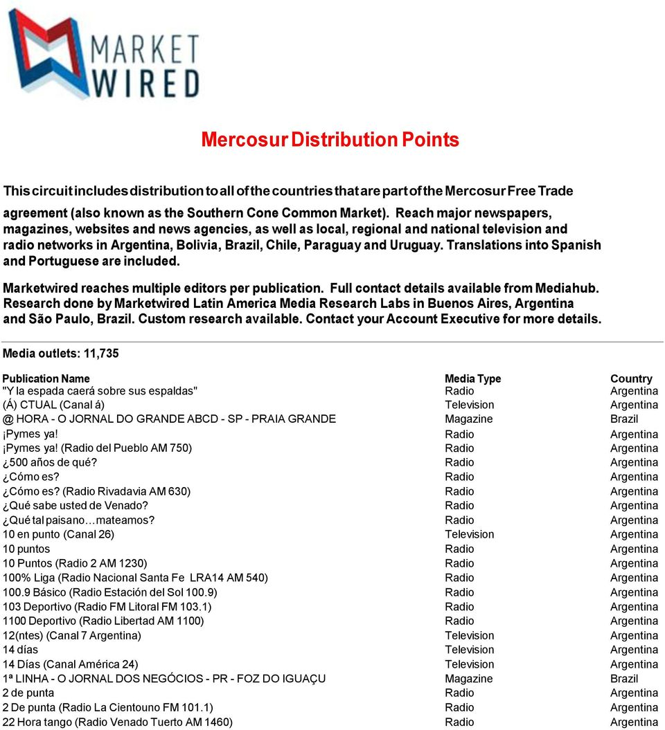 Translations into Spanish and Portuguese are included. Marketwired reaches multiple editors per publication. Full contact details available from Mediahub.