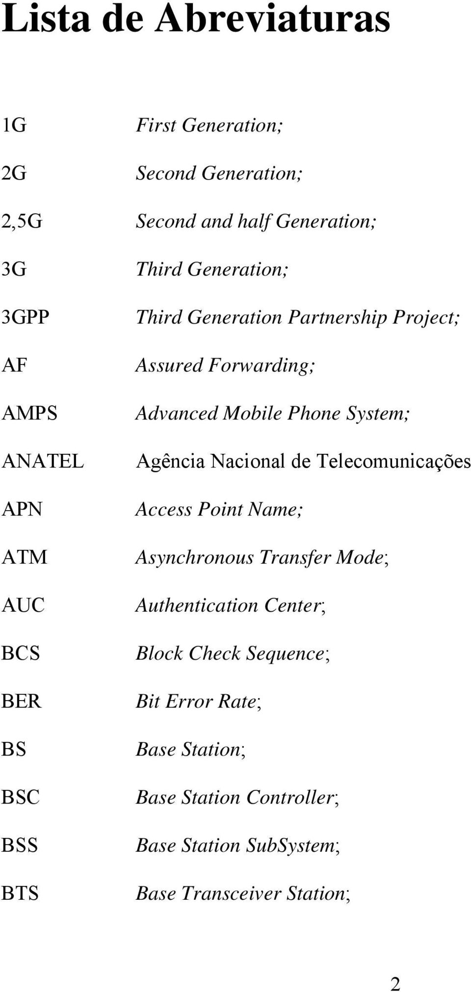 Phone System; Agência Nacional de Telecomunicações Access Point Name; Asynchronous Transfer Mode; Authentication Center;