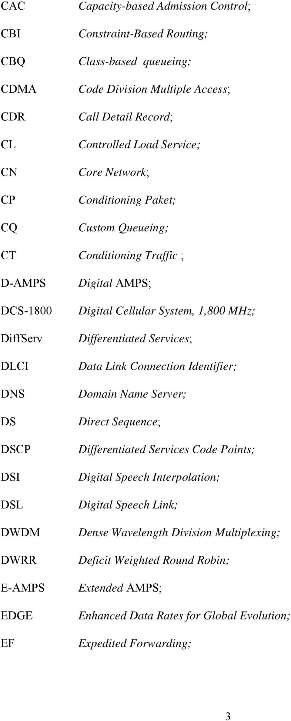 Digital Cellular System, 1,800 MHz; Differentiated Services; Data Link Connection Identifier; Domain Name Server; Direct Sequence; Differentiated Services Code Points; Digital