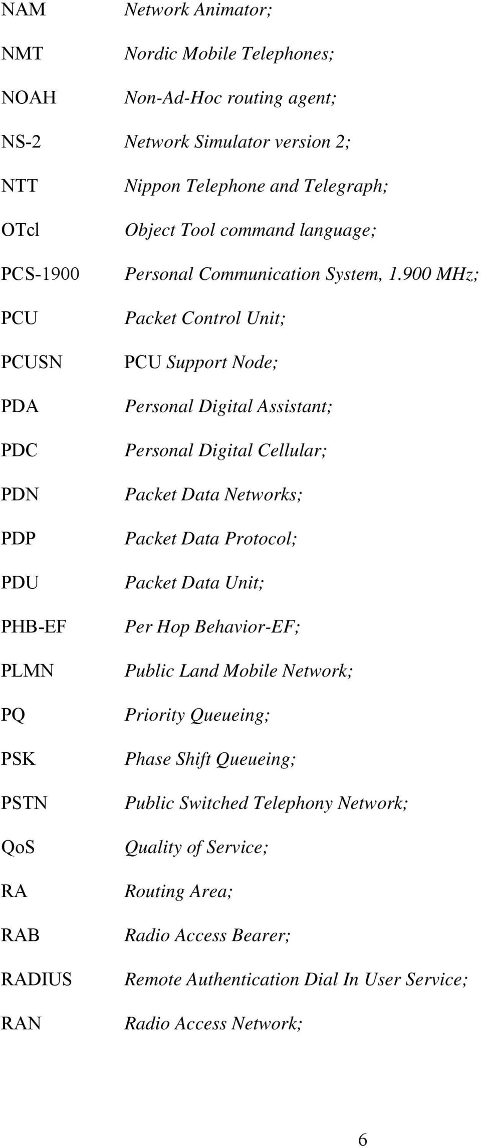 900 MHz; Packet Control Unit; PCU Support Node; Personal Digital Assistant; Personal Digital Cellular; Packet Data Networks; Packet Data Protocol; Packet Data Unit; Per Hop