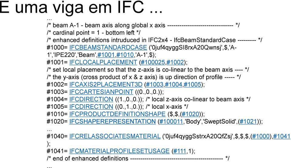 --------- */ #1000= IFCBEAMSTANDARDCASE ('0juf4qyggSI8rxA20Qwnsj',$,'A- 1','IPE220','Beam',#1001,#1010,'A-1',$); #1001= IFCLOCALPLACEMENT (#100025,#1002); /* set local placement so that the z-axis is