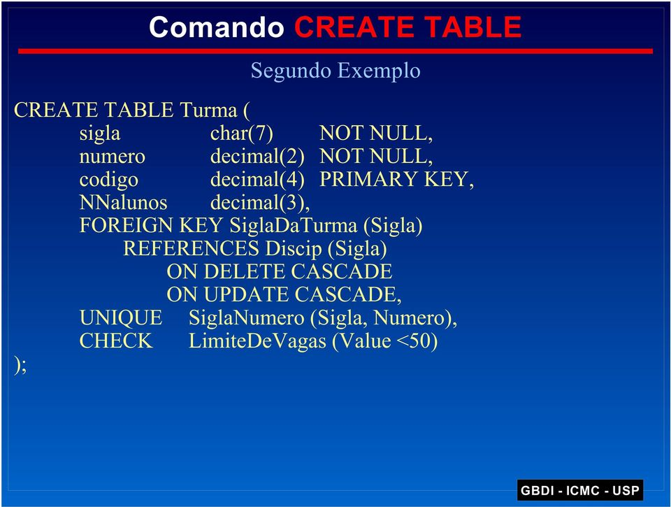 FOREIGN KEY SiglaDaTurma (Sigla) REFERENCES Discip (Sigla) ON DELETE CASCADE ON