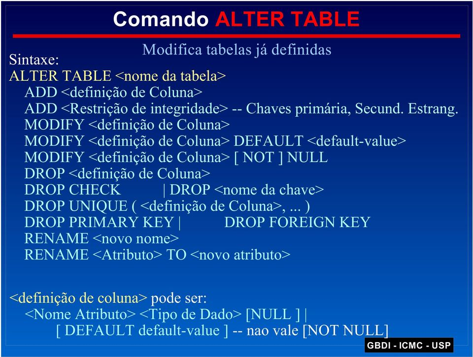 MODIFY <definição de Coluna> MODIFY <definição de Coluna> DEFAULT <default-value> MODIFY <definição de Coluna> [ NOT ] NULL DROP <definição de Coluna>