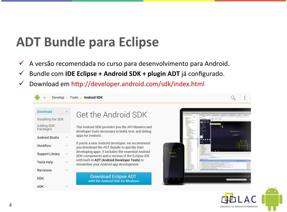 Bundle com IDE Eclipse + Android SDK + plugin ADT já