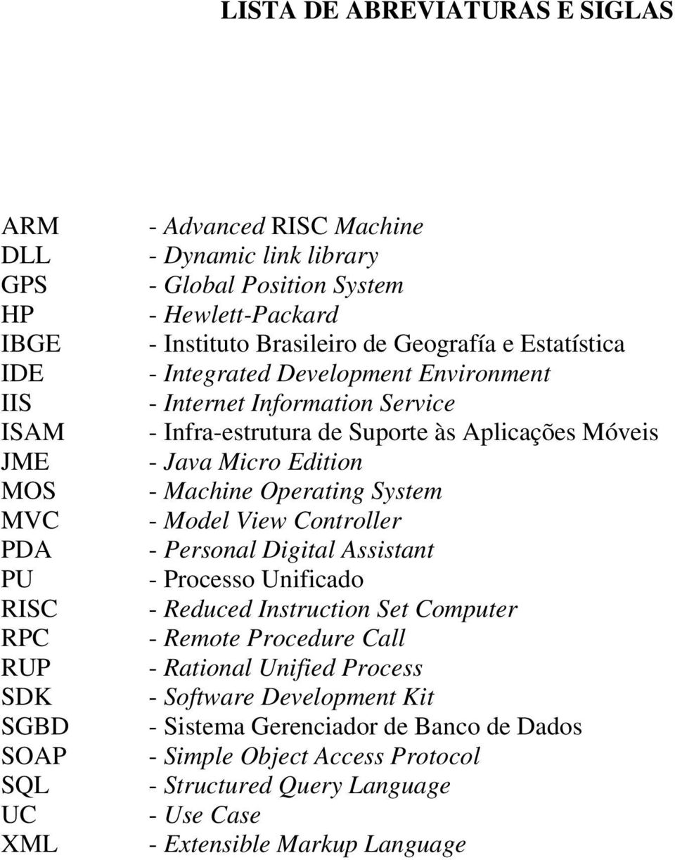 Móveis - Java Micro Edition - Machine Operating System - Model View Controller - Personal Digital Assistant - Processo Unificado - Reduced Instruction Set Computer - Remote Procedure Call