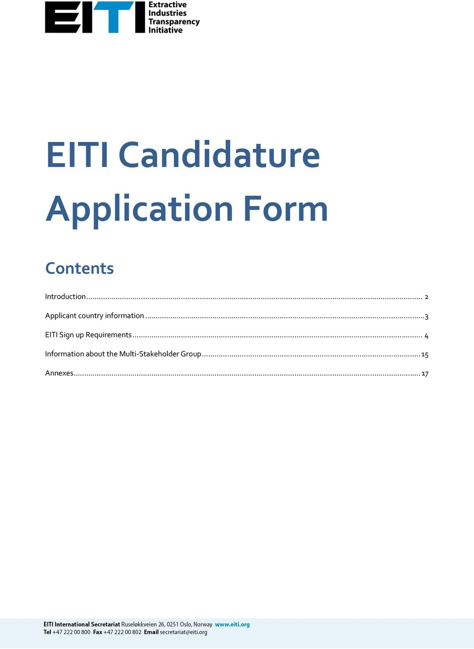 .. 3 EITI Sign up Requirements.