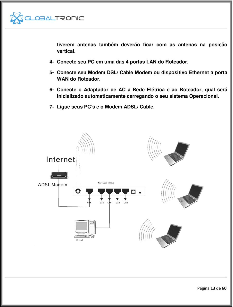 5- Conecte seu Modem DSL/ Cable Modem ou dispositivo Ethernet a porta WAN do Roteador.