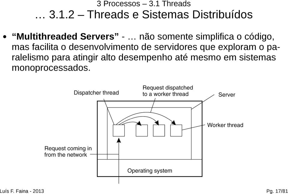 2 Threads e Sistemas Distribuídos Multithreaded Servers - não