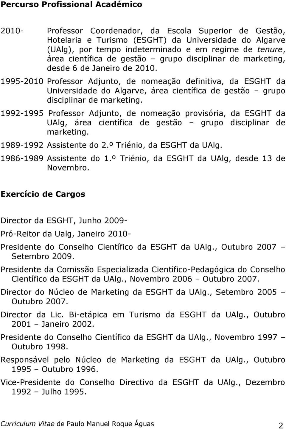 1995-2010 Professor Adjunto, de nomeação definitiva, da ESGHT da Universidade do Algarve, área científica de gestão grupo disciplinar de marketing.
