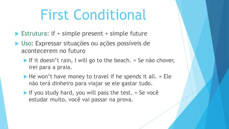 = Se não chover, irei para a praia. He won t have money to travel if he spends it all.