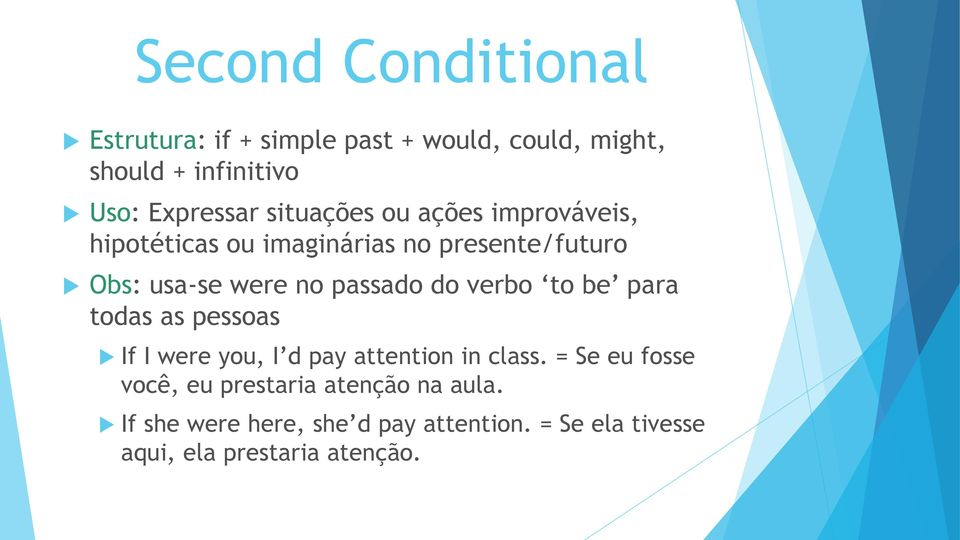 do verbo to be para todas as pessoas If I were you, I d pay attention in class.