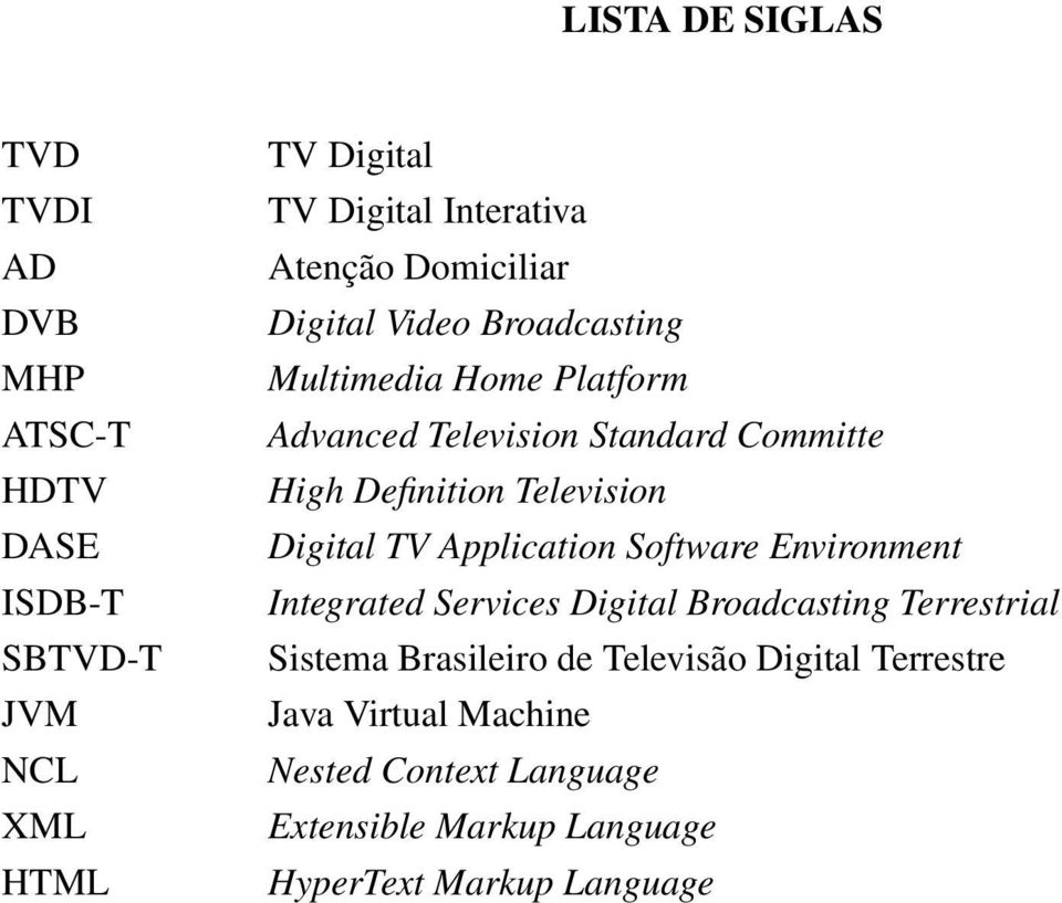 Television Digital TV Application Software Environment Integrated Services Digital Broadcasting Terrestrial Sistema