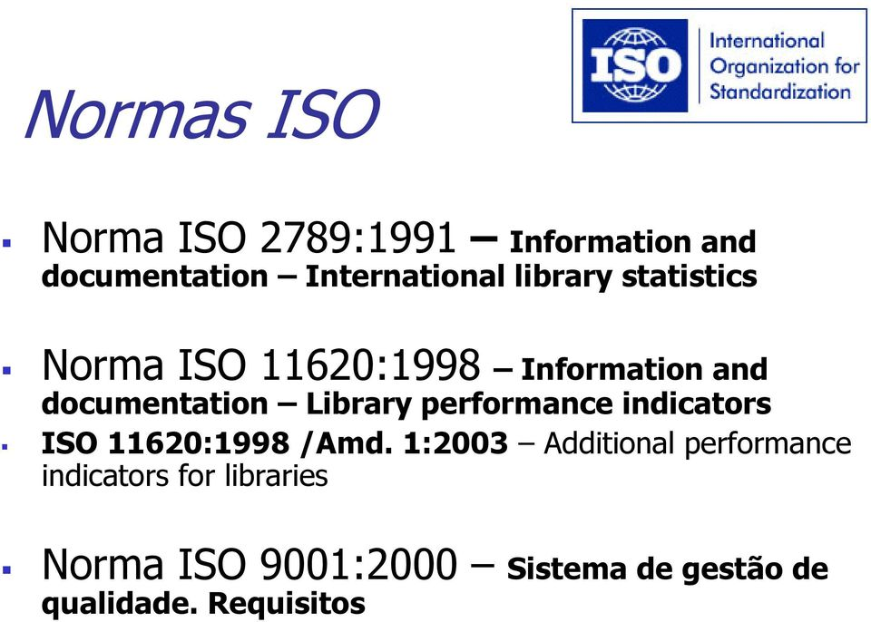 performance indicators ISO 11620:1998 /Amd.