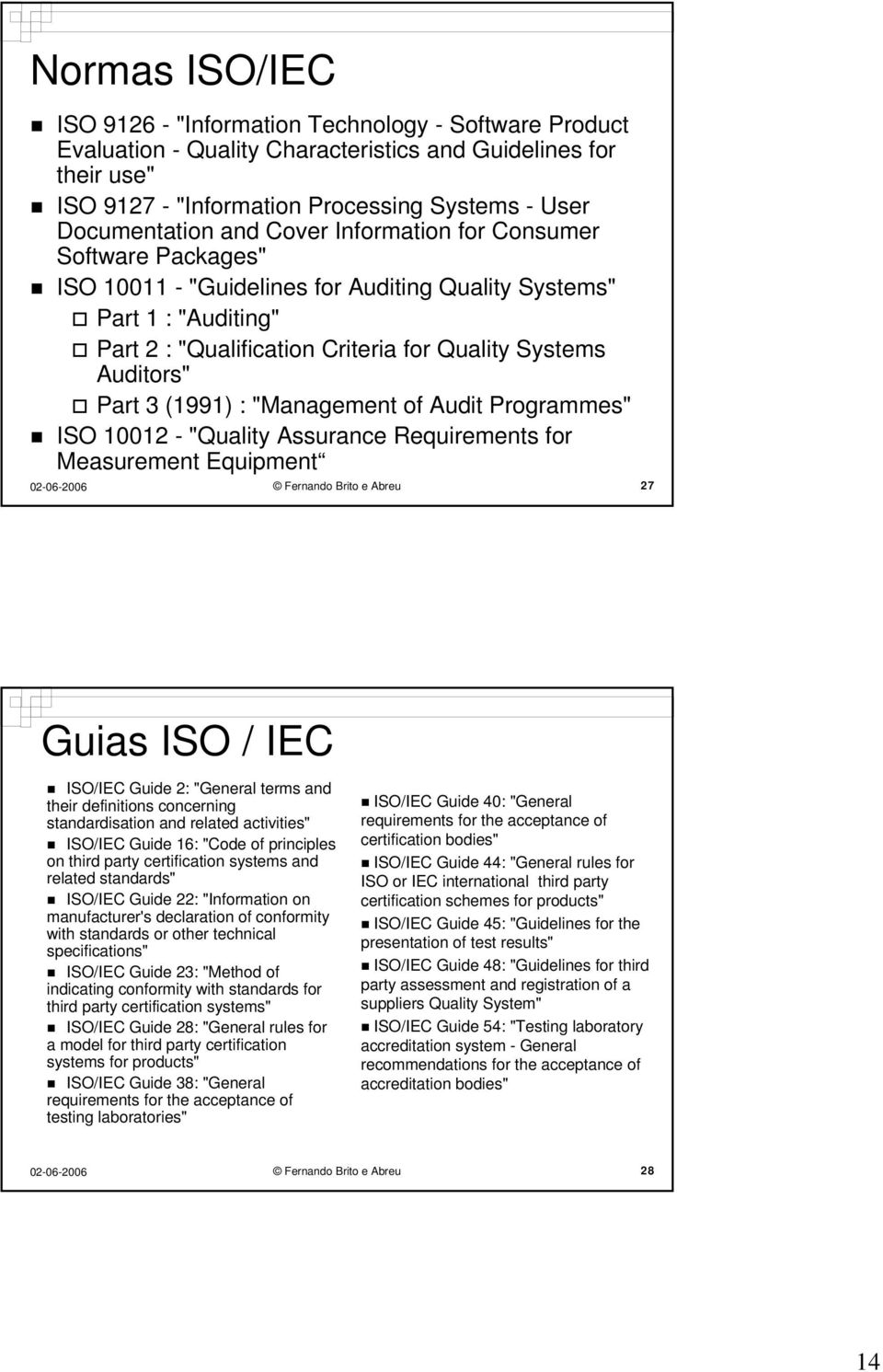 "(1991) : ""Management of Audit Programmes"" ISO 10012 - ""Quality Assurance Requirements for Measurement Equipment Fernando Brito e Abreu 27 Guias ISO / IEC ISO/IEC Guide 2: ""General terms and their"