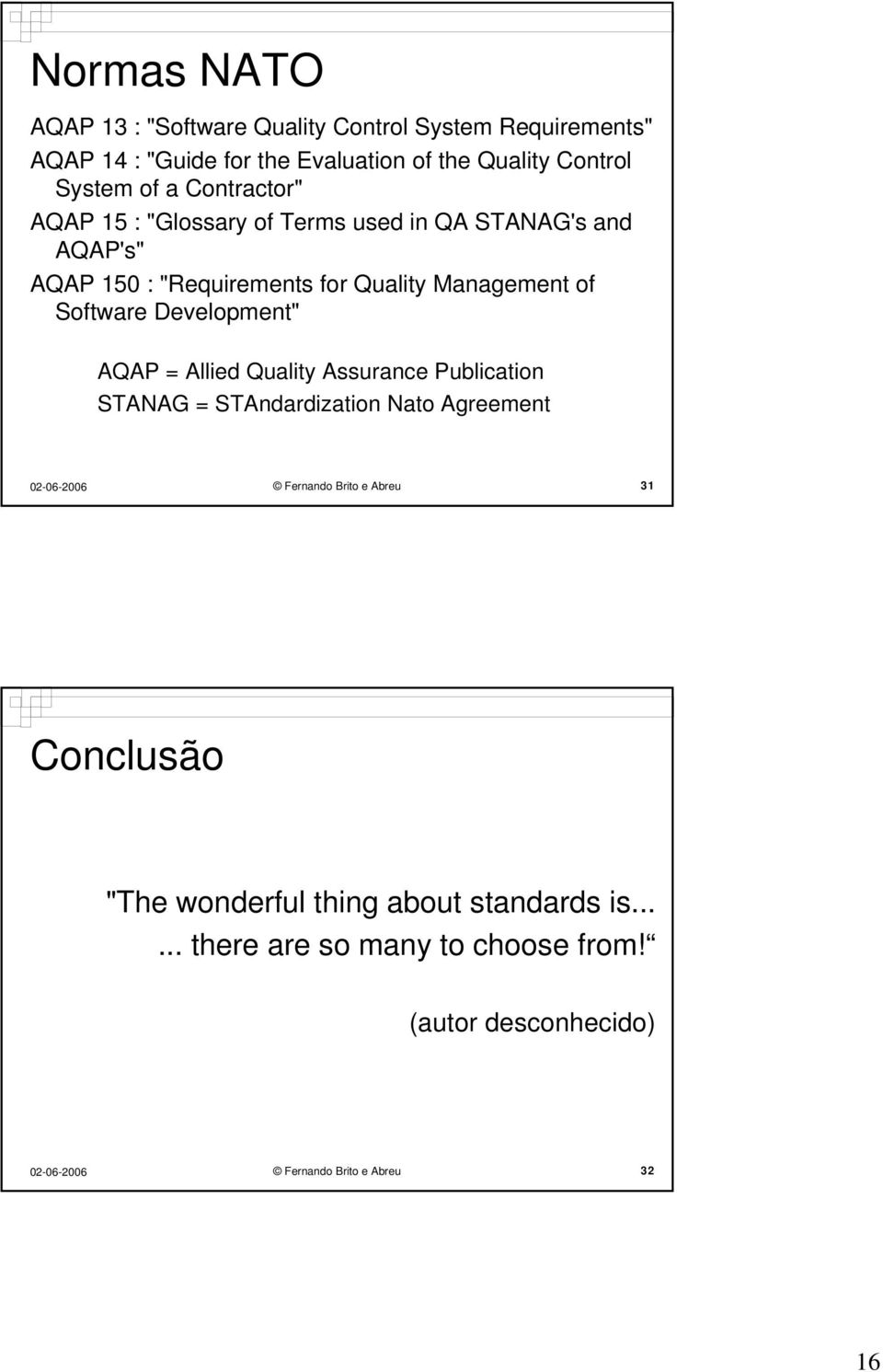 "of Software Development"" AQAP = Allied Quality Assurance Publication STANAG = STAndardization Nato Agreement Fernando Brito e Abreu"