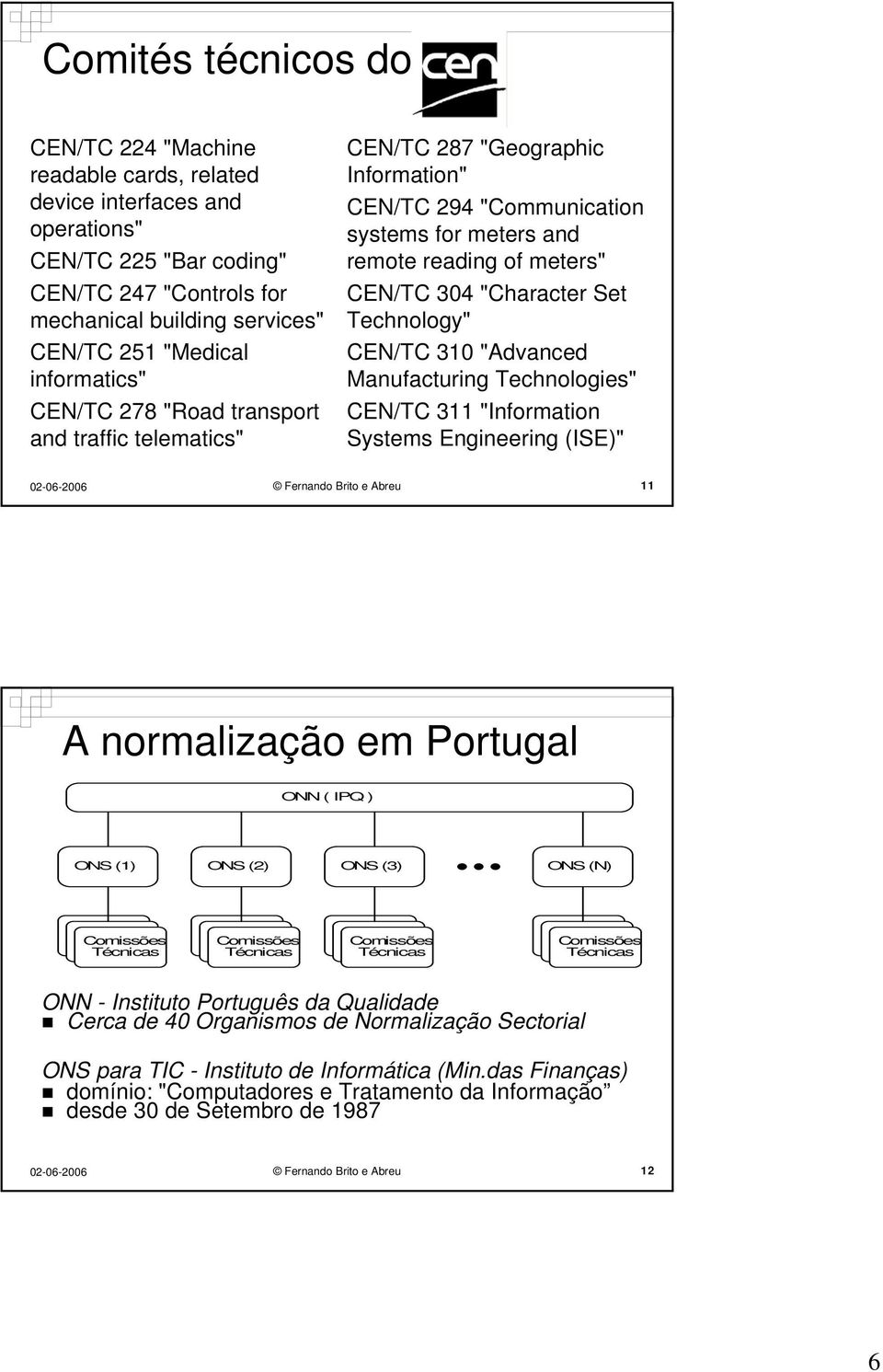 "Set Technology"" CEN/TC 310 ""Advanced Manufacturing Technologies"" CEN/TC 311 ""Information Systems Engineering (ISE)"" Fernando Brito e Abreu 11 A normalização em Portugal ONN ( IPQ ) ONS (1) ONS (2)"