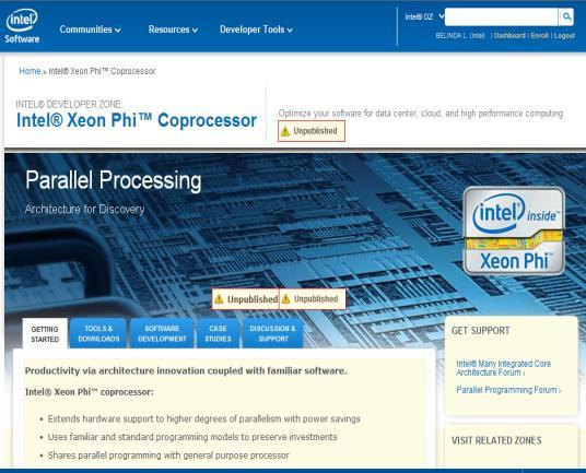 INTEL XEON PHI COPROCESSOR DEVELOPER SITE Architecture, setup, and programming resources Self-guided training Case
