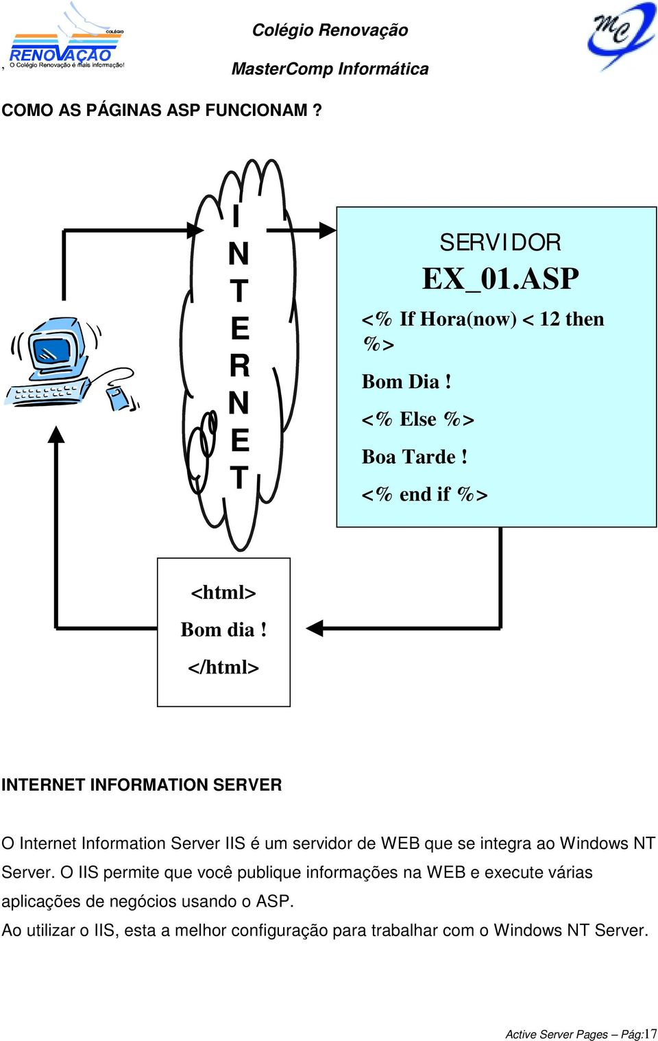 </html> INTERNET INFORMATION SERVER O Internet Information Server IIS é um servidor de WEB que se integra ao Windows NT